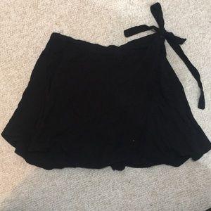 Black wrap around mini skirt